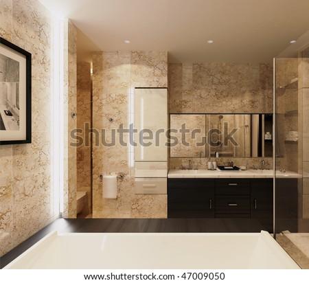 modern bathroom interior in a luxury home
