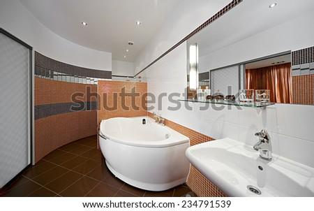 Modern Bathroom Interior. Mirror, tile. - stock photo