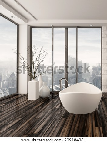 Modern bathroom interior with a freestanding white bathtub on a natural wood parquet floor in front of floor-to-ceiling glass windows overlooking a town - stock photo