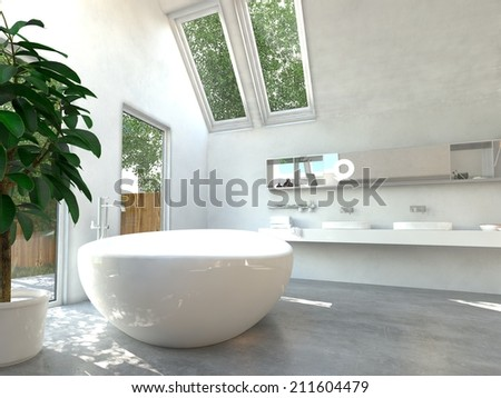 Modern bathroom interior with a white freestanding central oval bathtub and a wall-mounted double vanity unit with glass windows and skylights with a view of green trees - stock photo