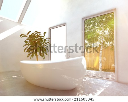 Modern bathroom interior with a white freestanding central oval bathtubwith glass windows and skylights with a view of green trees - stock photo