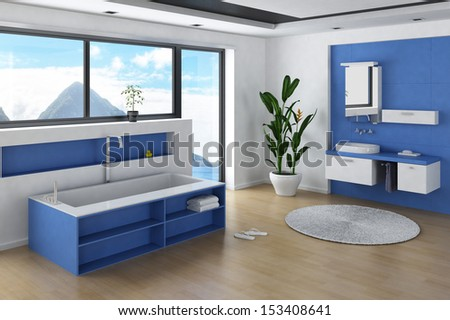 Modern Bathroom interior with blue colored furniture and wall - stock photo