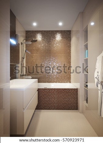 brown and white bathroom tiles modern bathroom interior brown beige tiles stock 22817
