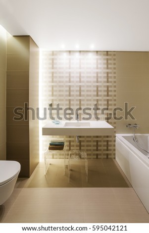 modern bathroom interior with brown pastel painting