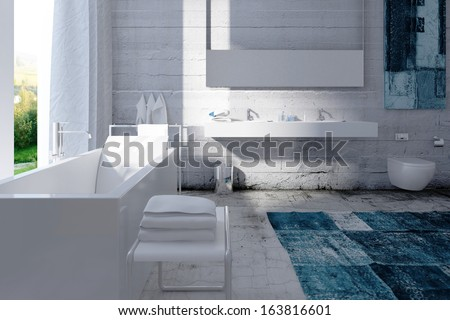 Modern bathroom interior with concrete wall - stock photo