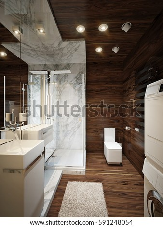 Modern Bathroom Interior With Marble And Dark Wood Walls. 3d Rendering.
