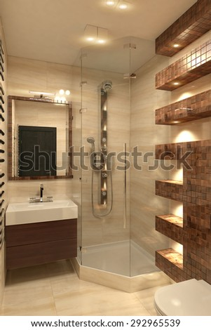 Modern bathroom Interior with shower 3D rendering - stock photo