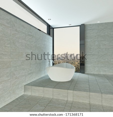 Modern bathroom interior with tiled stone wall and floor - stock photo