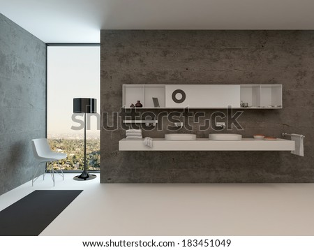 Modern bathroom interior with wash basin against concrete wall - stock photo