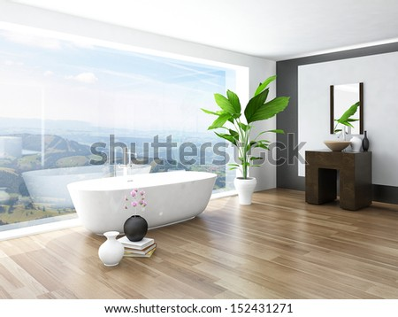 Modern Bathroom interior with white bathtub against huge window with landscape view - stock photo
