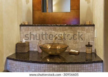 Modern bathroom sink - stock photo