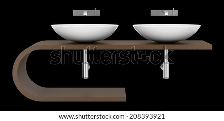modern bathroom sink isolated on black background - stock photo