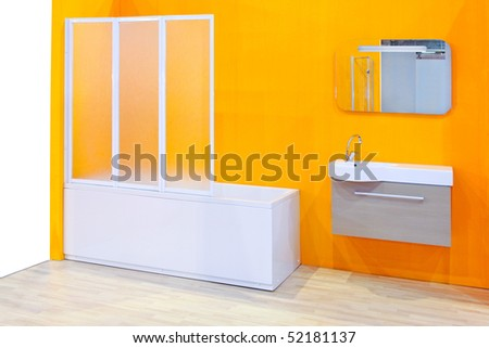 Modern bathroom vanities in a yellow bathroom