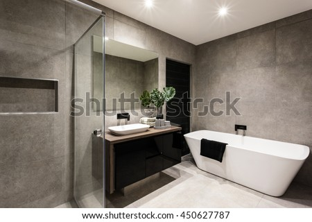 Modern Bathroom Shower Area Bath Tub Stock Photo 450627787