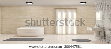 Modern bathroom with bath tube and toilette as panorama  - stock photo