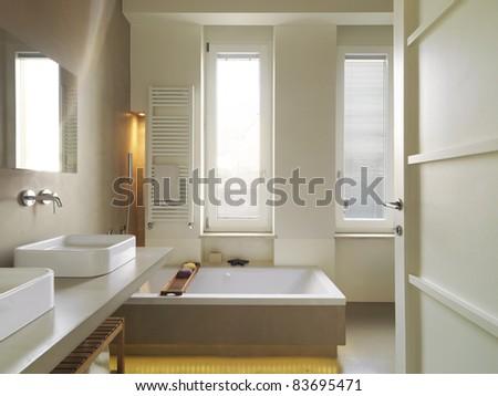 modern bathroom with bathtub - stock photo
