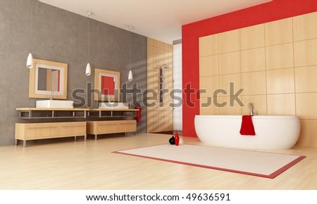 modern bathroom with bathtub sink and shower - stock photo