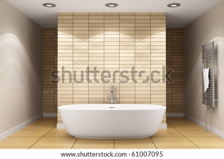 modern bathroom with beige tiles on wall and floor - stock photo