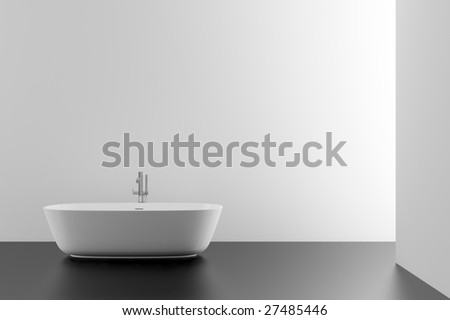 modern bathroom with black floor - stock photo