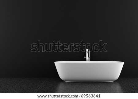 modern bathroom with black floor and wall - stock photo