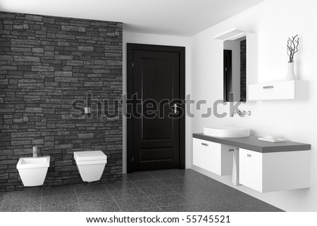 modern bathroom with black stone wall and white equipment - stock photo