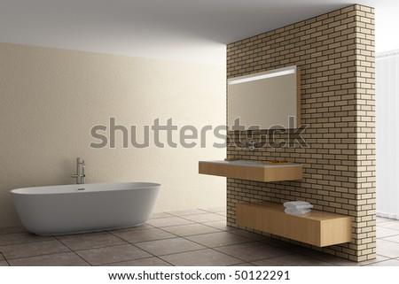 modern bathroom with brick wall - stock photo