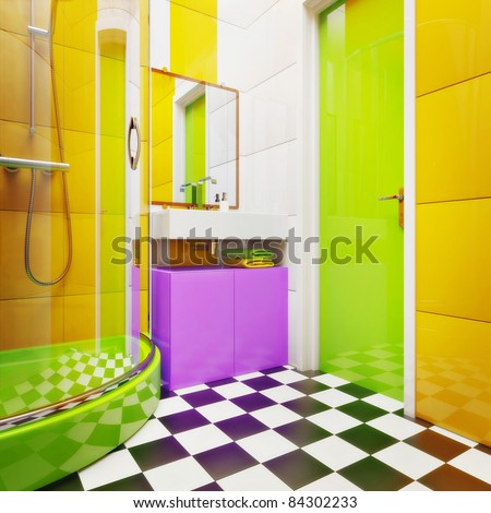 Modern bathroom with bright tiles - stock photo