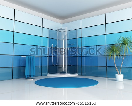 modern  bathroom with cabin shower and blue  panel - rendering - stock photo