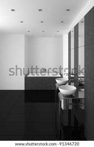 modern bathroom with double basin and black floor - stock photo