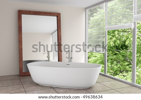 modern bathroom with large mirror - stock photo