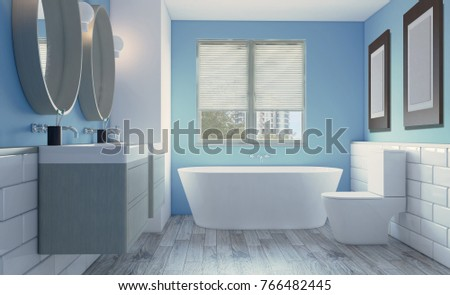 Modern bathroom with large window. 3D rendering. Empty picture.