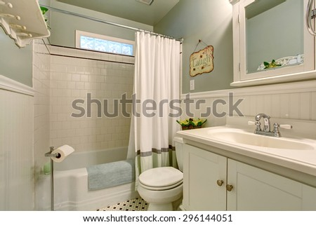 Modern bathroom with mint walls and tile floor.