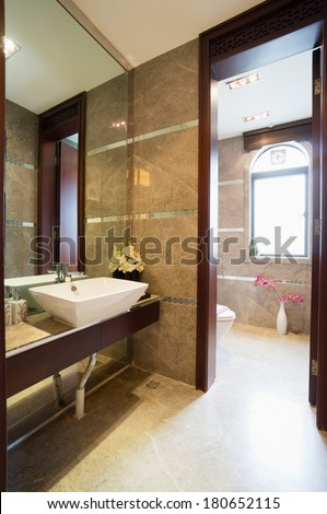 modern bathroom with mirror and sink