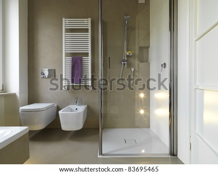 modern bathroom with shower cubicle - stock photo