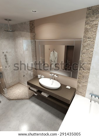 Modern bathroom with shower. In the brown, white and beige. 3D render.