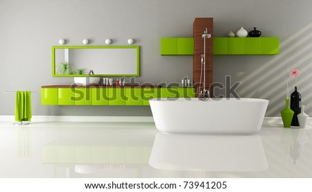 modern bathroom with sink bathtub and shower - rendering - stock photo