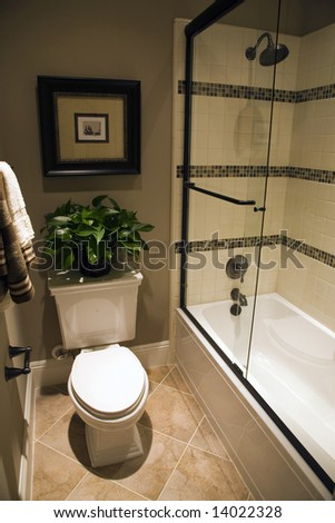 Modern bathroom with tiled shower and toilet. - stock photo