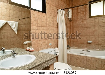 modern bathroom with tiled walls
