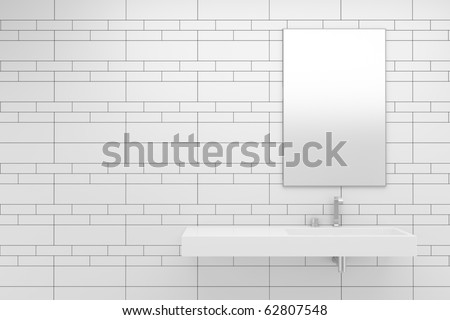 modern bathroom with white tiles on wall - stock photo