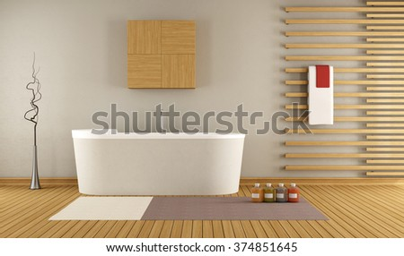 modern bathroom with wooden decorative elements - 3D Rendering - stock photo