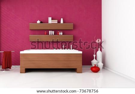 modern bathroom with wooden fashion bathtub -rendering - stock photo