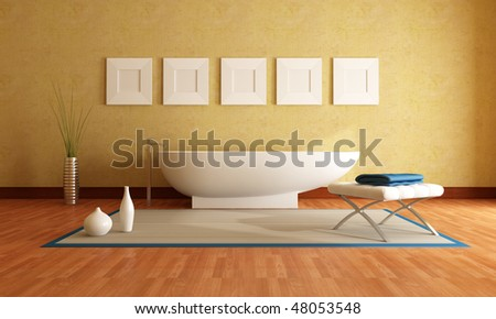 Modern bathtub in front a yellow stucco wall - stock photo