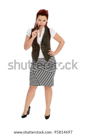 Modern beautiful accountant with pen in striped skirt isolated on white background - stock photo