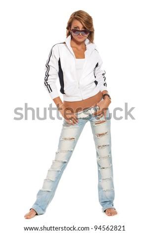 Modern beautiful woman. Sports style. - stock photo
