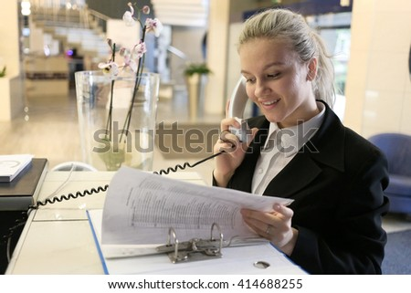 Modern beautyful business woman in the office  - stock photo