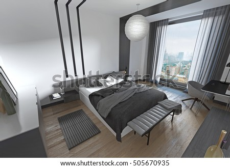 Modern bed in the bedroom, the contemporary style. Bedroom black and white design. 3D render.
