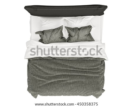 Modern bed isolated on white background ,top view