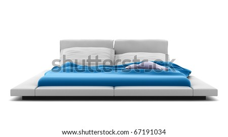 modern bed isolated on white background with clipping path - stock photo