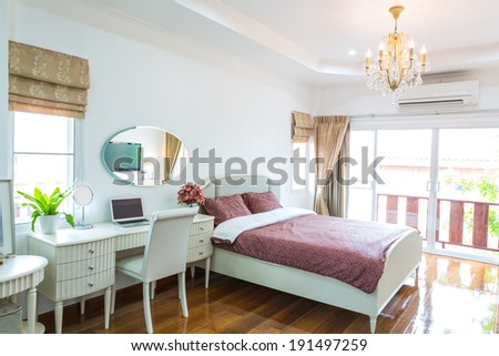 Modern bed room interior - stock photo
