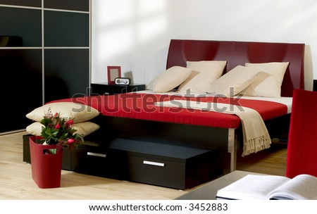 modern bedroom - stock photo